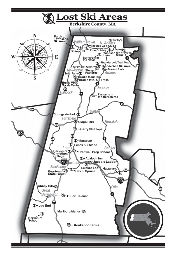 A map of the Berkshires' lost ski areas,