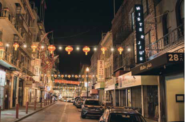 San Francisco's Chinatown at night, with Mister Jiu's, 2017.