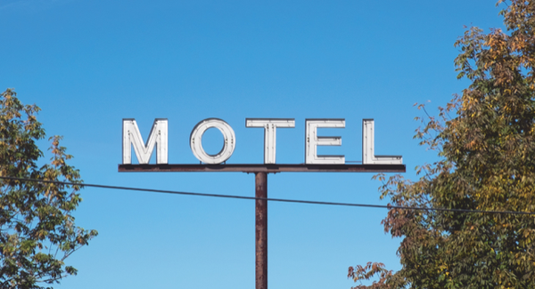 The sign of the Queen City Motel in Bangor, Maine.
