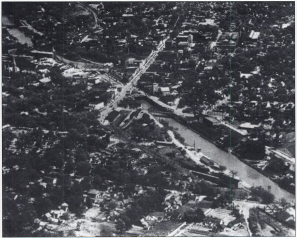 An aerial view of Lockport, the city created by the Erie Canal.
