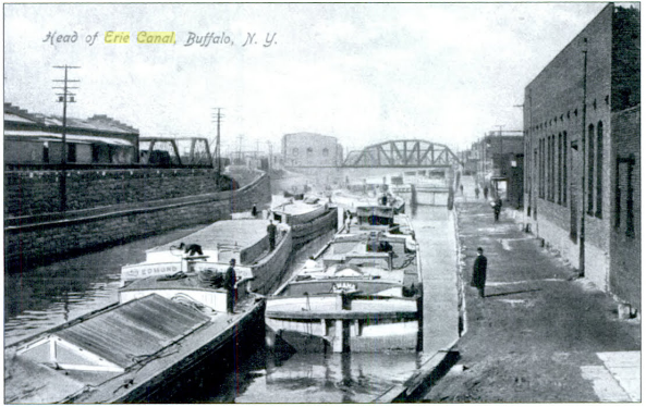The harbor where the Erie Canal joins to Lake Erie in Buffalo, NY.