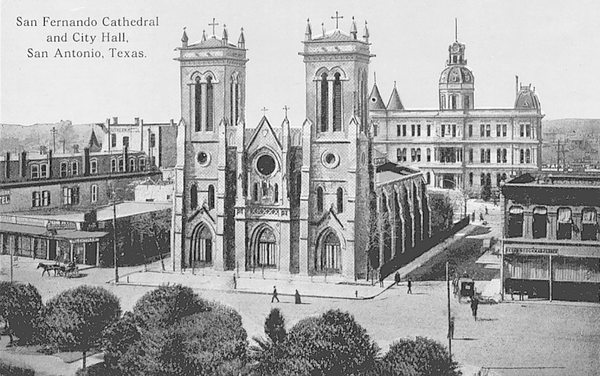 San Fernando Cathedral. Reprinted from San Antonio in Vintage Postcards by Mel Brown, courtesy of Nic Tengg (pg. 83, Arcadia Publishing, 2000).