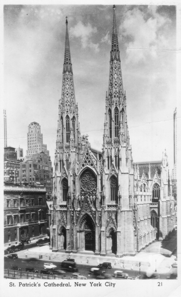 St. Patrick's Cathedral. Reprinted from Manhattan Churches by Richard Panchyk (pg. 80, Arcadia Publishing, 2016).