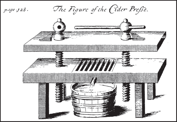 A cider press, as featured in John Worlidge's Vinetum Brittanicum. Reprinted from Forgotten Drinks of Colonial New England: From Flips & Rattle-Skulls to Switchel & Spruce Beer by Corin Hirsch (pg. 60, The History Press, 2014).