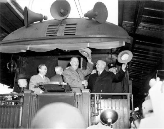 President Harry Truman on the 1948 campaign train with Kentucky Senator Alben Barkley.