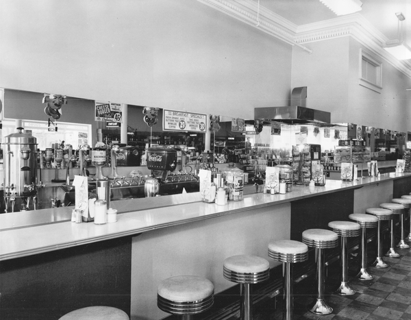A circa 1960s soda fountain bar in a K&B drugstore.