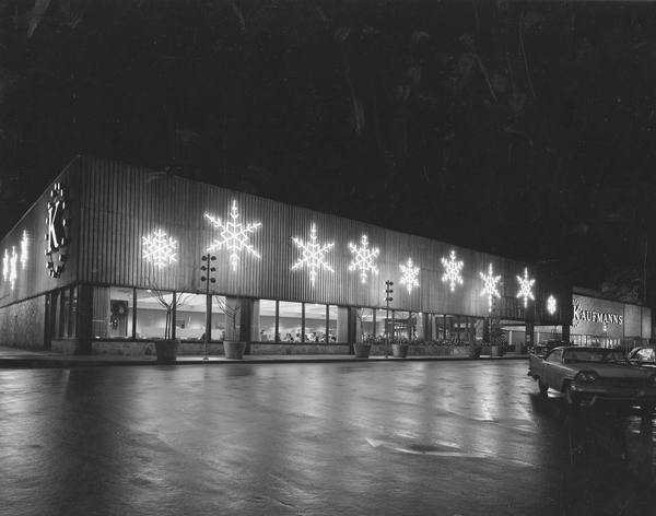 A Kauffman's department store decorated for the holidays.