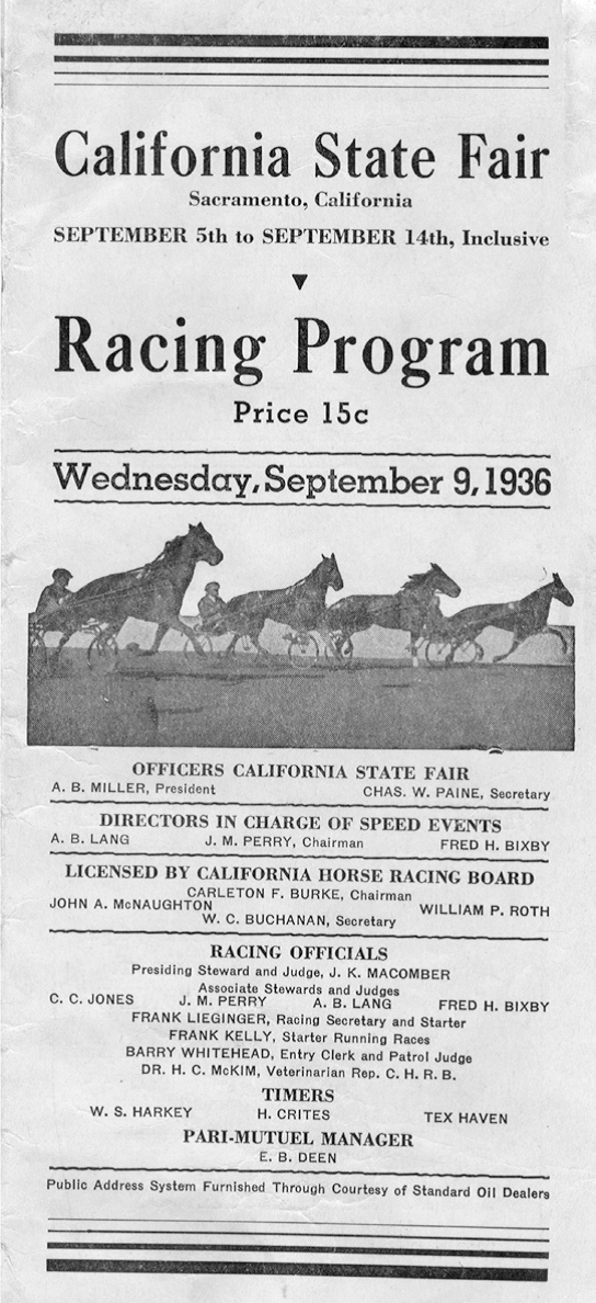 A racing program from the 1936 California State Fair.
