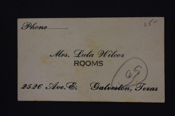 "Calling card of Lula Wilcox, known madam of ""The Line"" who like many other madams operated a brothel under the guise of a boarding house."