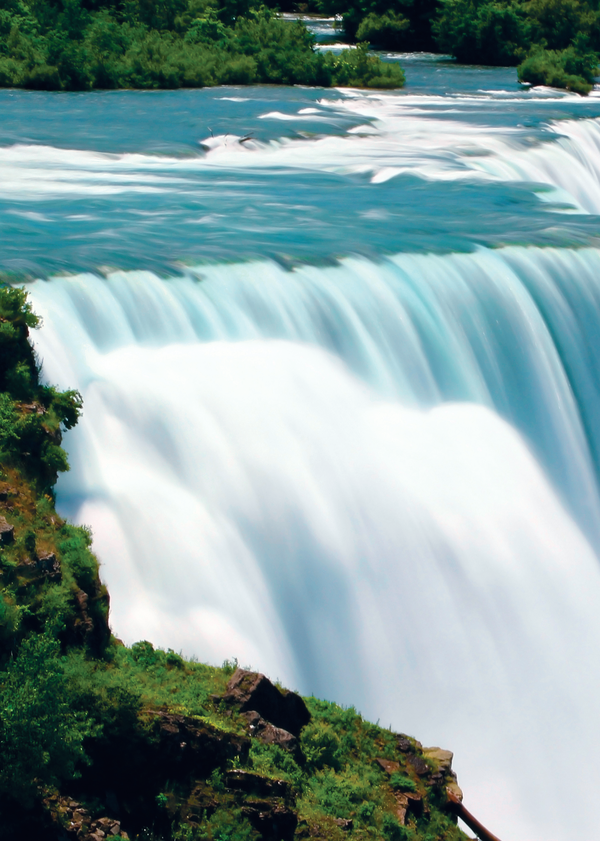 A view of the American side of Niagara Falls, located in between Lake Erie and Lake Ontario.