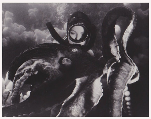 A diver with an octopus.