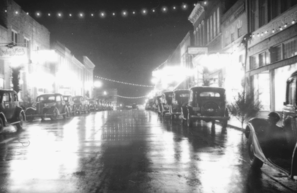 A 1935 view of East Center Street in Fayetteville. These holiday lights were a predecessor to the Lights of the Ozarks festival.