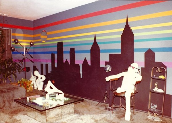 Super Graphic New York Skyline.  In 1978 Sharon Koskoff painted a graphic rainbow with a silhouette of the New York Skyline featuring the Chrysler Building, Empire State Building and on the bottom left end, the Twin Towers of the World Trade buildings.