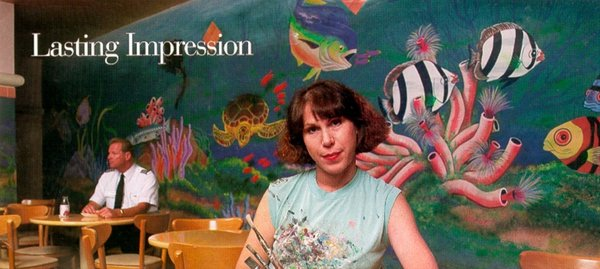 Palm Beach International Airport Concourse B. Sharon Koskoff sits in front of her Coral Reef mural at Palm Beach International Airport (PBIA) in West Palm Beach in 1995.