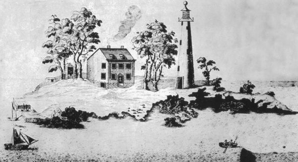 A rendition of the 1716 Boston Light lighthouse on Little Brewster Island.