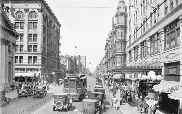 At the corner of Fourth and Main in Los Angeles, traffic is bustling in this 1924 photo.