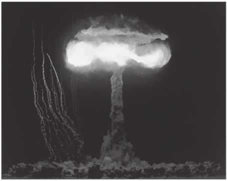 A mushroom cloud caused by a bomb test.