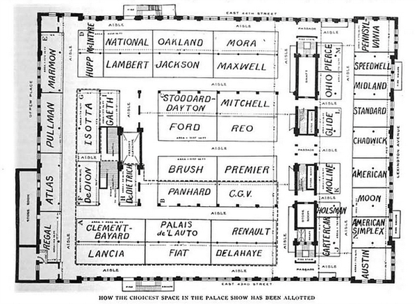 1909 New York Auto Show space allocation (From the author's collection).