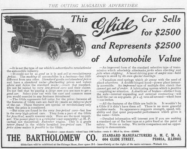 Advertisement for the Glide, manufactured on Glide Street in Peoria, Illinois. (From the author's collection).