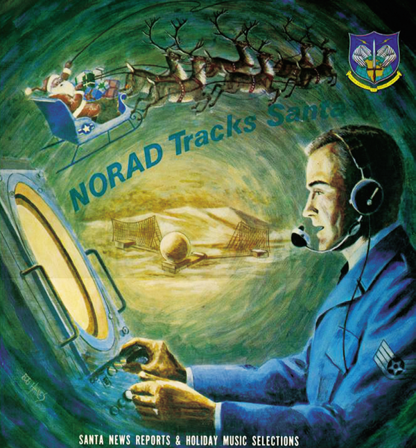 This propaganda poster promoted the NORAD Santa tracker in its early years.