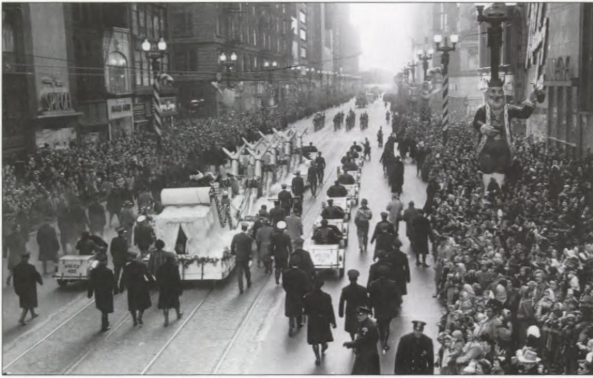 This photo from the 1950 parade also featured the parade's largest float at 160 feet long.