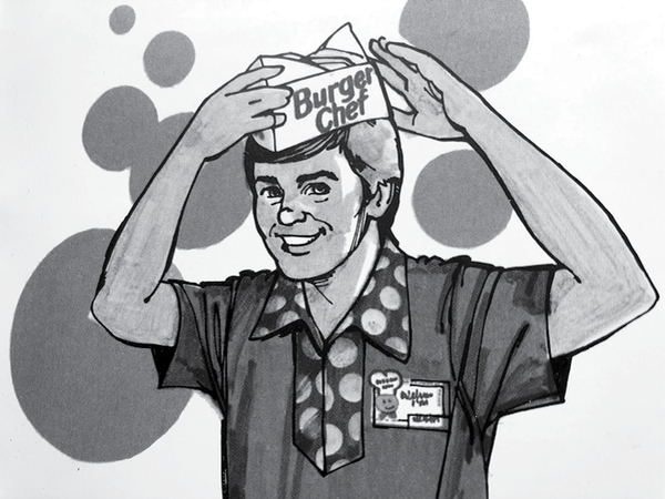 Illustration from a Burger Chef employee hygiene manual that was distributed to crew members in the 1970s.