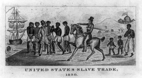 An abolitionist rendering of the slave trade, depicting coffled slaves in the shadow of the nation's capital. Reprinted from Abolitionists of South Central Pennsylvania by Cooper H. Wingert, courtesy of the Library of Congress (pg. 21, The History Press, 2018).