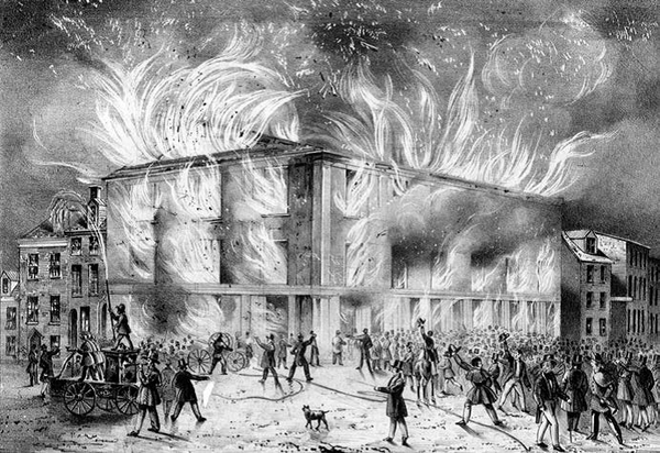 Pennsylvania Hall, a prominent symbol of abolitionism in Philadelphia, was torched by a mob within days of its opening in May 1838. Reprinted from Abolitionists of South Central Pennsylvania by Cooper H. Wingert, courtesy of the Library of Congress (pg. 40, The History Press, 2018).