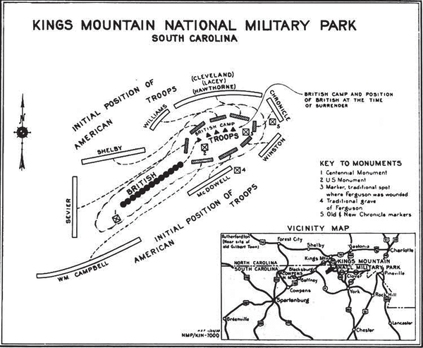 A map of King's Mountain, where the Battle of Cowpens took place.