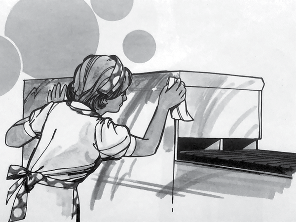 Illustration from a Burger Chef employee hygiene manual depicting nightly cleaning procedures.