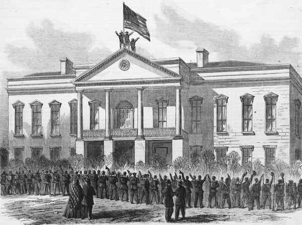 A drawing of the second state house in Columbia, which was burned only a day after the American flag was hoisted above its roof in 1865.