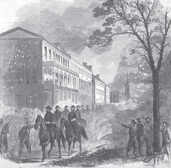 This illustration, Sherman's Entrance into Columbia, shows the arrival of Union Major General William Tecumseh Sherman in Columbia in February 1865.
