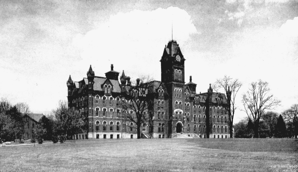 Here, the original University Hall is shown – this building was razed in 1971 and replaced with a similarly designed building.