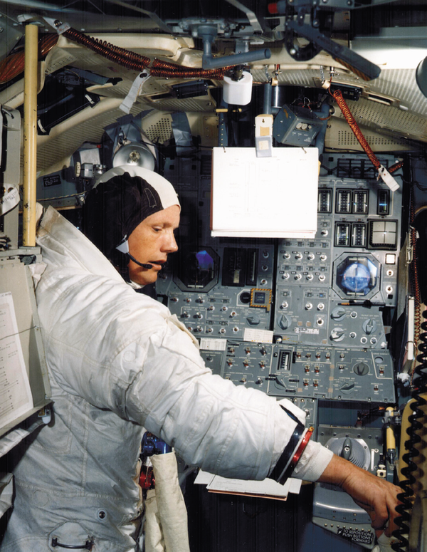 Astronaut Neil Armstrong, the first man to walk on the moon.