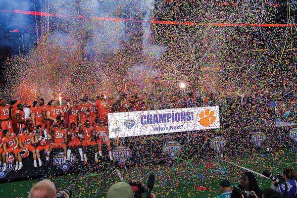 The confetti drops on Clemson after its 30-3 spanking of Notre Dame in the Cotton Bowl.