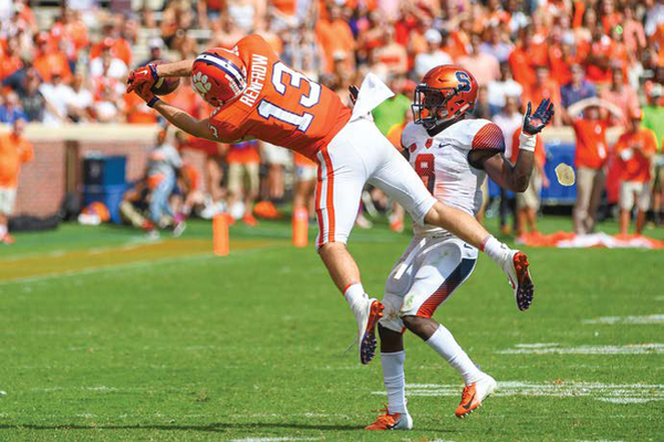 Hunter Renfrow with one of the biggest plays of the season, a leaping grab of a Chase Brice throw to convert a third down and set up a field goal in the third quarter against Syracuse.