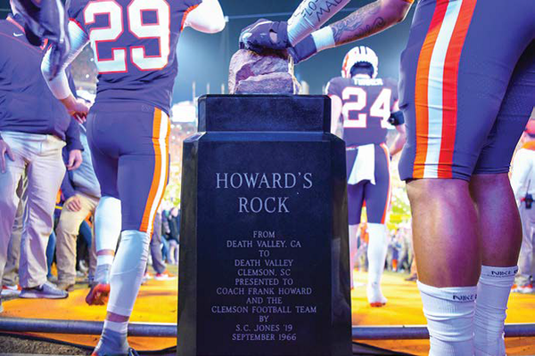 Players touch Howard's Rock before playing host to Duke.
