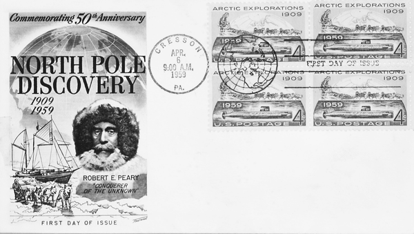 A 1959 stamp commemorating Peary's discovery of the North Pole.