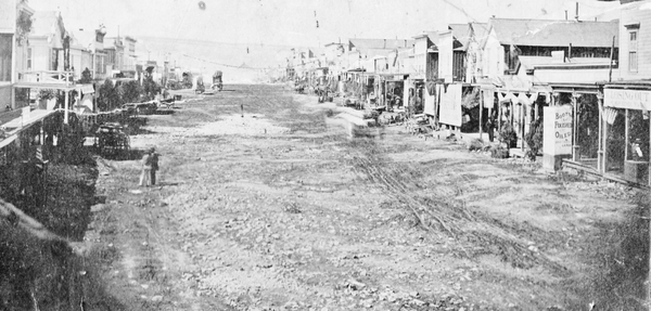 One of the first photos of Bodie's Main Street.