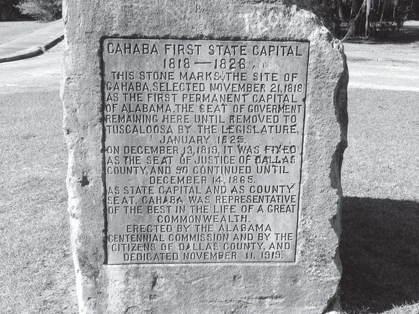 A stone marker at the site of Old Cahaba.