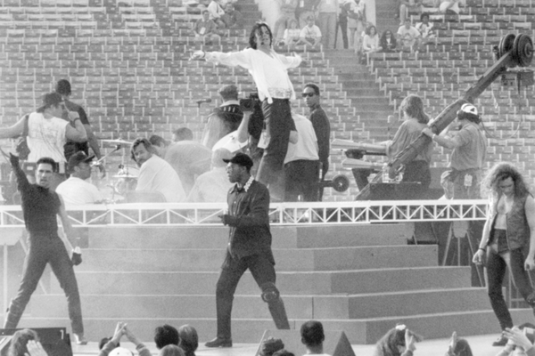 A photo of Michael Jackson rehearsing before his 1993 show at the Super Bowl.