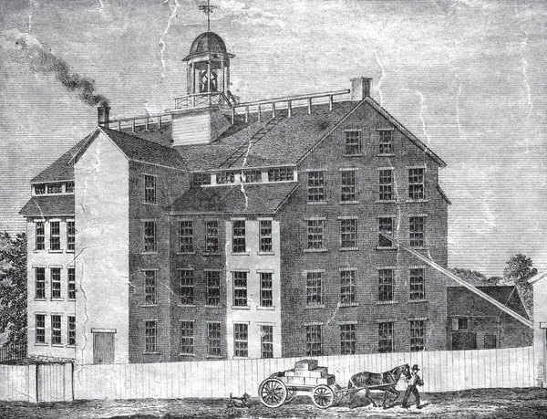 An etching of an early mill.