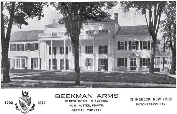 The first postcard of the Beekman Arms following its renovation, dated 1917.