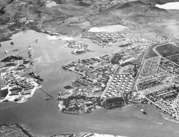 A pre-World War II aerial photo of Pearl Harbor.