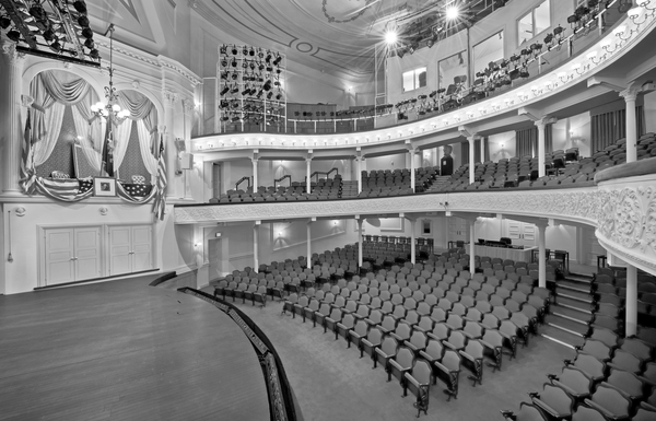 The interior of Ford's Theater in Washington D.C., featuring the infamous presidential box.