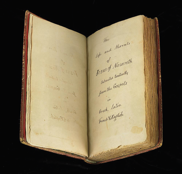 Jefferson's copy of The Life and Morals of Jesus of Nazareth.