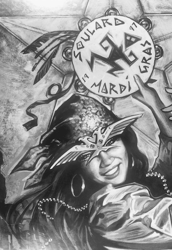 A poster advertising the then-upcoming Mardi Gras celebrations in Soulard.