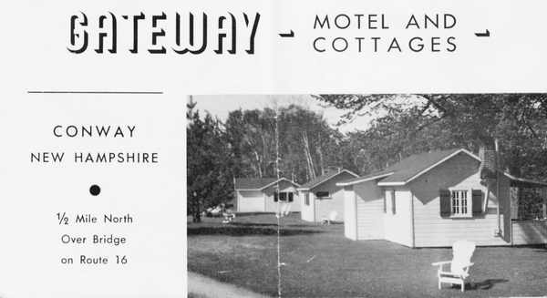 An advertisement for the Gateway Cottages and Motel. Prior to modern motels, cottages were often available for travelers.