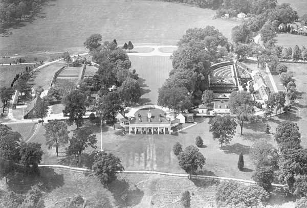 This 1926 photograph is one of the earliest aerial images of the mansion and grounds.