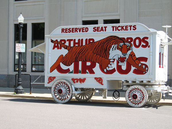 A circus wagon on display at Circus World. Image by Laurascudder [CC BY-SA 3.0], via Wikimedia Commons.